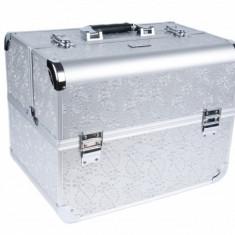 Geanta cosmetice - Geanta manichiuriste cu cristale model mare - SILVER CU CRISTALE