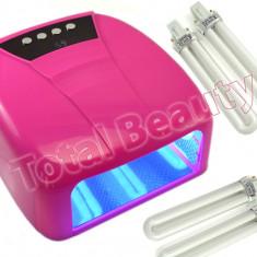 Lampa UV unghii false cu 4 Neoane 36W, timer si display digital - Roz