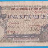 (2) BANCNOTA ROMANIA - 100.000 LEI 1945 (7 AUGUST 1945) - FILIGRAN BNR ORIZONTAL, An: 1945