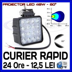 PROIECTOR LED PATRAT 12V, 24V - OFFROAD, SUV, UTILAJE - 48W DISPERSIE 60 GRADE - Proiectoare tuning ZDM