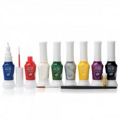 RIO Kit de 8 culori profesionale pentru pictura pe ughii, Rio Professional Nail Art, NPEN - Trusa manichiura