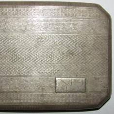 PVM - Tabachera de argint veche 130 g marcaj coroana in stare foarte buna - Tabachera veche