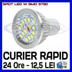 Bec/neon ZDM, Becuri economice, 50 - 100, > 10000, Interior - SPOT LED MR16, GU10, E14, E27 - 14 SMD 5730 - ECHIVALENT 50W - ALB RECE SAU CALD