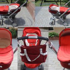 Carucior copii 3 in 1 Chicco, 1-3 ani, Pliabil, Rosu, Maner reversibil - Carucior Chicco Trio I-Move Rosu set complet Landou + Scoica + Scaun Sport