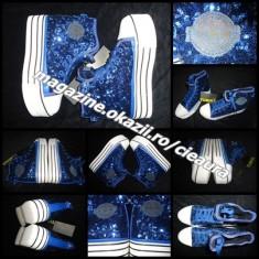 Ghete dama, Textil - SNEAKERS BASCHETI ALBASTRI DAMA PLATFORMA firma TUMINA TALPA TRIPLA PAIETE TMN