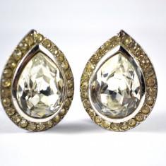 Cercei vintage, model lacrima, cristale Bohemia fatetate