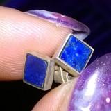 Cercei argint - Cercei vechii argint 800 finuti stud cu piatra de lapis lazuli naturala!