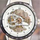 Ceas Luxury Elegant WINNER MECANIC Skeleton EXCLUSIVE FULL Automatic Alb Negru