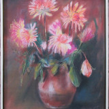 Tablou, Flori, Pastel, Impresionism - Vaza cu flori - semnat Popas '87