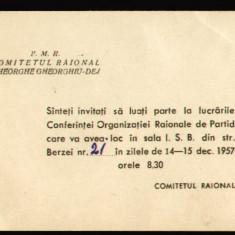 Hartie cu Antet - 1957 RPR, Conferinta PMR - Organizatia Raionala de Partid Gheorghe Gheorghiu-Dej, invitatie propaganda comunista