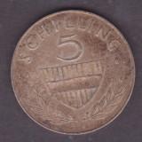 (1) MONEDA DIN ARGINT AUSTRIA - 5 SCHILLING 1961, PATINA FRUMOASA