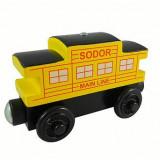 Trenulet de jucarie Thomas Wooden, Lemn, Unisex - Wooden trenulet Thomas - SODOR LINE CABOOSE YELLOW vagon din lemn cu magnet -NOU