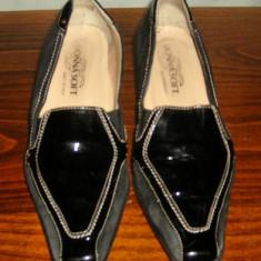 Pantof dama Made in Italia din piele Donna Soft Italia marimea 37, Culoare: Negru, Piele intoarsa