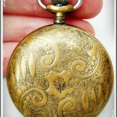 Ceas de buzunar - CEAS MIC DE BUZUNAR - VIGILANT, CARCASĂ DE ALAMĂ DECORATĂ, VECHI DIN ANUL 1889!