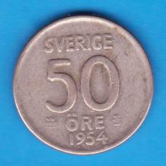 (1) MONEDA DIN ARGINT SUEDIA - 50 ORE 1954, Europa