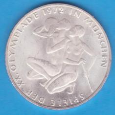 (2) MONEDA DIN ARGINT GERMANIA - 10 MARK 1972-LIT. F-OLIMPIADA DE LA MUNCHEN, Europa