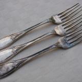 Impresionate trei furculite mari placate cu argint, perioada anilor 1920, Tacamuri