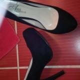 Pantofi - Pantof dama, Marime: 41, Culoare: Negru, Textil