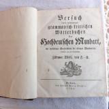 Carte veche din 1788.Dictionar de gramatica a limbii Germane.Reducere!