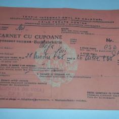 Pasaport/Document - Carnet de cupoane CFR trafic international 1965