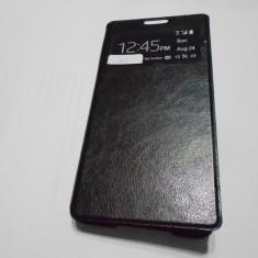 Husa flip cover Samsung Galaxy A5 cu s-view permite raspunderea fara deschidere - Husa Telefon Akella, Negru, Piele, Cu clapeta