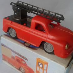 Jucarie de colectie - Masinuta veche Pompieri, jucarie de tabla, plastic E Flim Lemez Foreign, Ungaria