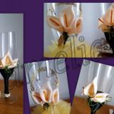 Decoratiuni nunta - Vand pahare miri si nasi aurii cu cale