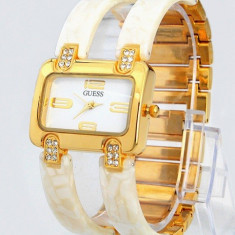 CEAS DAMA GUESS ICONIC IVORY GOLD&DIAMONDS EDITION-SUPERB-COLECTIE NOUA-REDUS !, Fashion, Quartz, Placat cu aur, Placat cu aur, Rezistent la apa