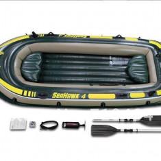 Barca Pescuit - INTEX Set Barca Seahawk pentru 4 persoane + VASLE ALUMINIU + POMPA 68351