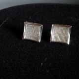 Cercei cu diamante - Cercei aur alb cu diamante