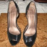 Sandale dama, Piele naturala - SANDALE PIELE LACUITA NEAGRA 38