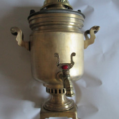 Metal/Fonta, Ornamentale - SAMOVAR RUSESC DIN BRONZ MARCAT, CU CARBUNI ANII 20-30