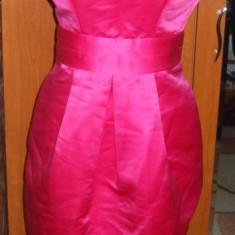 Rochie scurta mulata roz de petrecere sexy cu spatele gol VIVIR 38 M - Rochie de seara Zara, Fara bretele