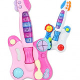 Instrumente muzicale copii - SET CHITARA ELECTRICA PENTRU COPIII SI 2 MICROFOANE PENTRU KARAOKE INCLUSE.