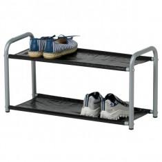 Suport metalic pentru pantofi cu 2 etaje - 60 cm lungime - Raft/Etajera