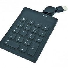 Numeric Keypad USB 3.0 cu 18 taste din silicon, cablu retractabil de 0.7m, culoare: negru-gri, GEMBIRD (KPD-1F)