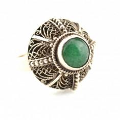 Inel argint vechi, anturaj onix verde, filigran, model opulent, reglabil, marcaj, 57 - 67