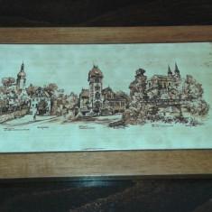 Tablou de ceramica cu rama de lemn, 2+1 GRATIS - Arta Ceramica