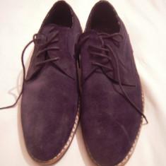 Vand pantofi office, culoare albastru inchis, imitatie piele intoarsa. - Pantofi barbati, Marime: 43