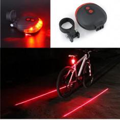 Stop bicicleta LED + Laser semnalizare culoar pe carosabil, Faruri si semnalizatoare
