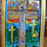 Sculptura - Gravura in lemn de fag, pictata - artist MAMOS