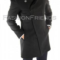 Palton tip ZARA negru - palton barbati - palton slim fit fashion - cod 5589