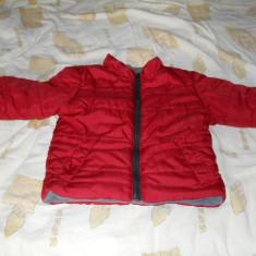 Geaca rosie, cu doua fete, captusita cu fleece, de iarna pt copil 2-3 ani, Culoare: Rosu, Unisex