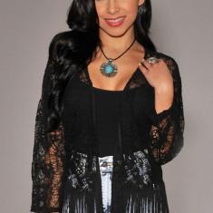 Bluza dama - BL468-1 Bluza semitransparenta din dantela, accesorizata cu franjuri