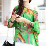 BL406-12 Bluza vaporoasa de vara cu print colorat