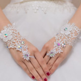 GL15-2 Manusi scurte, pe un deget, cu broderie florala - Manusi Dama, Marime: Marime universala, S/M