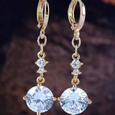 Cercei deosebiti aur filat 9k cristale zirconiu - Cercei aur, Galben