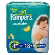 Scutece unica folosinta copii - PAMPERS Scutece Active Baby 4+ Maxi Plus 18 buc