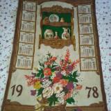 Calendar tesut la 1978, ptr perete, dm 75 cm pe 45 cm .reducere