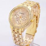 Ceas dama GENEVA auriu gold bratara metalica cristale superb+cutie simpla cadou
